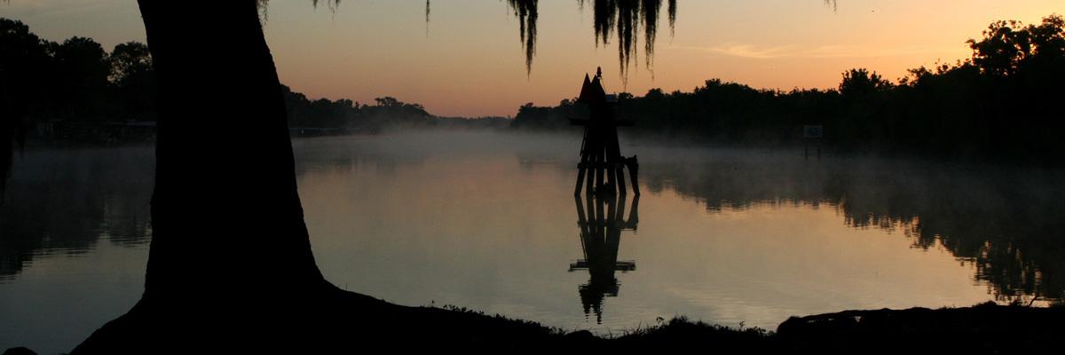 Foggy lake at dusk