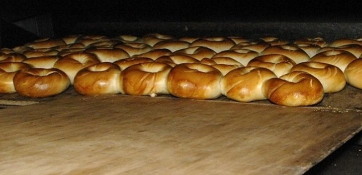 Plain Bagels in the oven