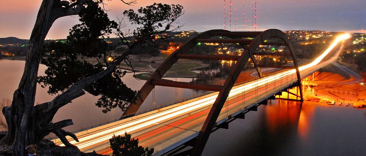 view of bridge at night
